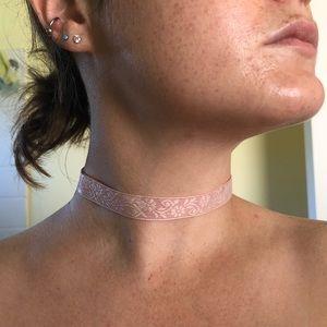 Pink fabric choker